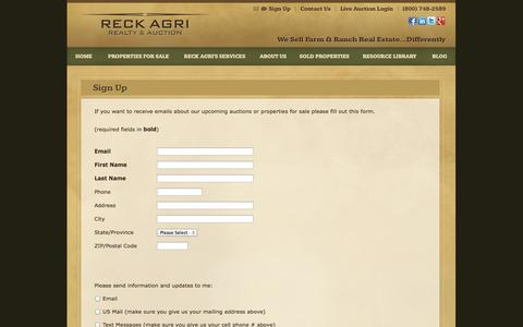 Screenshot of Signup Page reckagri.com - Farm and Land Auctions - Sign Up | Reck Agri Realty & Auction - captured Oct. 26, 2014