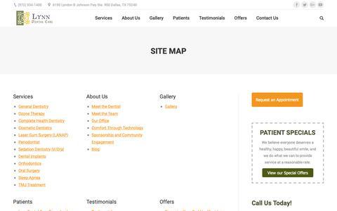 Screenshot of Site Map Page lynndentalcare.com - Site Map - captured Nov. 5, 2018