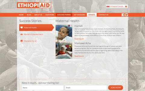 Screenshot of Case Studies Page ethiopiaid.ca - Success Stories | Ethiopiaid Canada - captured Jan. 30, 2016