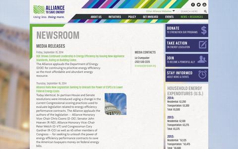 Screenshot of Press Page ase.org - Newsroom | Alliance to Save Energy - captured Sept. 23, 2014
