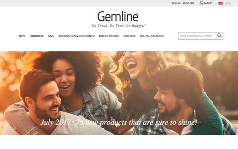 Screenshot of Home Page gemline.com - Gemline | Promotional Products Supplier - captured July 24, 2017