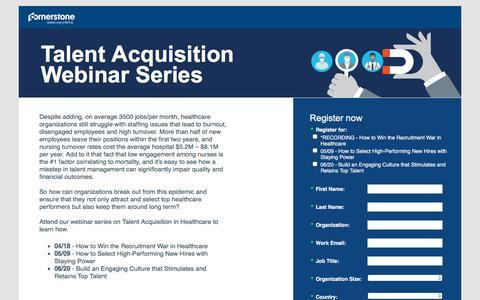 Screenshot of Landing Page cornerstoneondemand.com - CSOD   Talent Acquisition Webinar Series - captured April 27, 2017