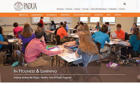 Screenshot of Home Page paduafranciscan.com - Padua Franciscan   a Catholic, college preparatory school. - captured Sept. 26, 2018