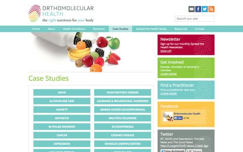 Screenshot of Case Studies Page orthomolecularhealth.com - Case Studies | Orthomolecular Health - captured Oct. 6, 2014