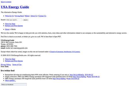Screenshot of Press Page usaenergyguide.com - Media Relations for USA Energy Guide - The Alternative Energy Guide | USA Energy Guide - captured Oct. 3, 2014