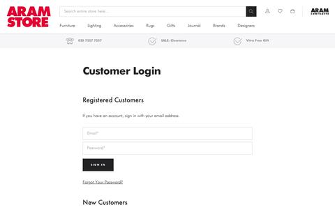 Screenshot of Login Page aram.co.uk - Customer Login - captured June 24, 2019