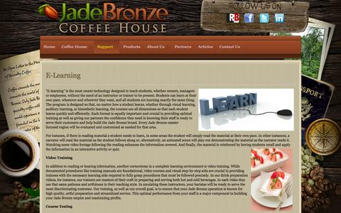 Screenshot of Support Page jadebronze.com - Jade Bronze - E-learning and technology based training - captured Oct. 6, 2014
