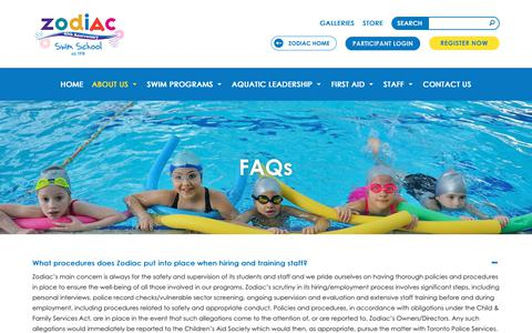 Screenshot of FAQ Page zodiackids.ca - FAQs   Private Swimming Programs Toronto ON   Zodiac Swim School - captured Oct. 21, 2018