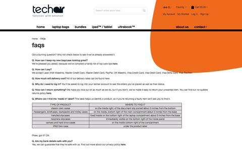 Screenshot of FAQ Page techair.co.uk - FAQs  | techair - captured Jan. 10, 2016