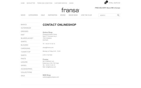 Screenshot of Support Page fransa.com - Contact Onlineshop- Fransa - captured Aug. 22, 2018