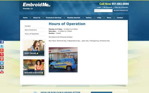 Screenshot of Hours Page embroidme-riverside.com - Hours of Operation  | EmbroidMe of Riverside - captured Oct. 2, 2014