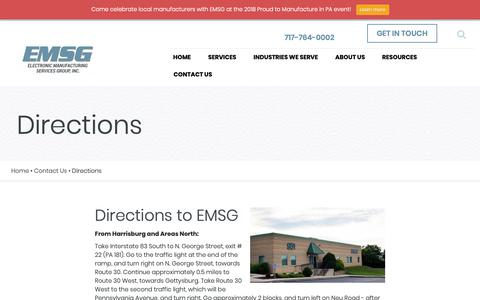 Screenshot of Maps & Directions Page emsginc.com - Driving Directions | Electronic Manufacturing Services Group - captured Sept. 27, 2018