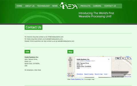 Screenshot of Contact Page inedasystems.com - Ineda - captured Sept. 13, 2014