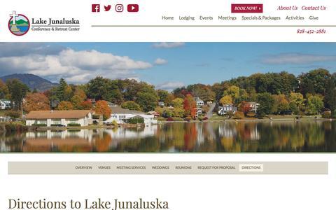 Screenshot of Maps & Directions Page lakejunaluska.com - Directions to Lake Junaluska Conference & Retreat Center, North Carolina - captured May 13, 2017