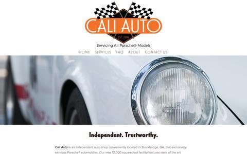 Screenshot of Home Page atlantaporscherepaircaliauto.com - Cali Auto: Exclusive Porsche Mechanic® - captured Oct. 16, 2016