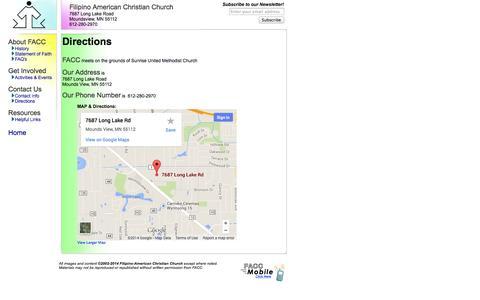 Screenshot of Maps & Directions Page filamchurchmn.org - Filipino-American Christian Church --  Twin Cities, Minnesota - captured Oct. 5, 2014