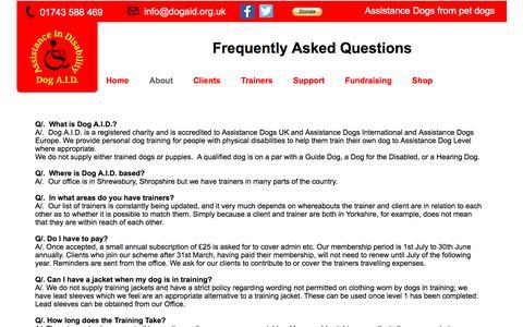 Screenshot of FAQ Page dogaid.org.uk - FAQ - Dog A.I.D. - captured Oct. 12, 2017