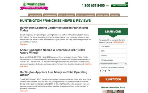Screenshot of Press Page huntingtonfranchise.com - Huntington Learning Center Media News  Huntington Updates - captured Aug. 14, 2017