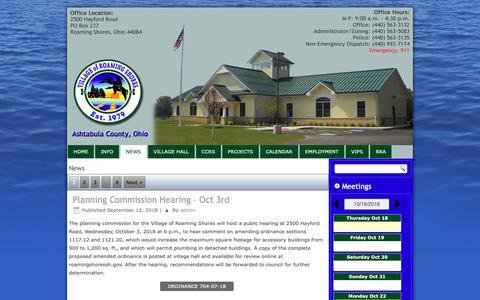 Screenshot of Press Page roamingshoresoh.gov - News – Village of Roaming Shores - captured Oct. 18, 2018