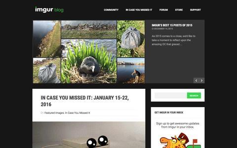 Screenshot of Blog imgur.com - The Imgur Blog - captured Jan. 27, 2016
