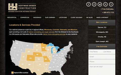 Screenshot of Locations Page hwconstruction.com - Locations & Services by Area | Hoffman Weber Construction - captured Sept. 29, 2018