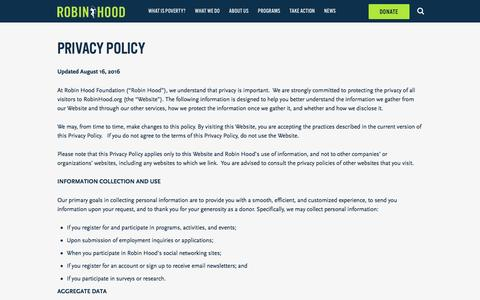 Screenshot of Privacy Page robinhood.org - Privacy Policy | Robin Hood - captured May 9, 2017