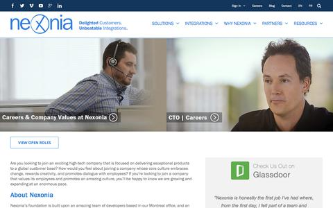 Screenshot of Jobs Page nexonia.com - Career With Nexonia | Toronto, Montreal & Philadelphia - captured Sept. 25, 2017