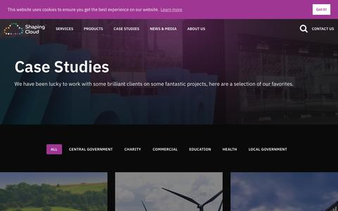 Screenshot of Case Studies Page shapingcloud.com - Case Studies | Shaping Cloud - captured Oct. 20, 2018