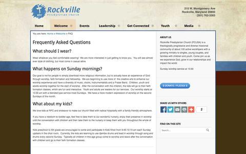 Screenshot of FAQ Page rockvillepres.org - FAQ | Rockville Presbyterian Church - captured Oct. 7, 2014
