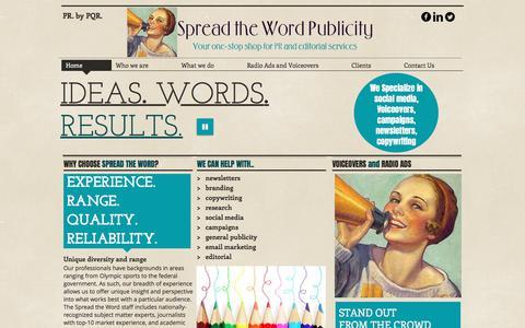 Screenshot of Home Page spreadthewordpublicity.com - Spread the Word Publicity and Editorial- Destin, FL - captured Nov. 6, 2017