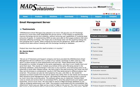 Screenshot of Testimonials Page madsolutions.com - Exchange Mailbox Management - Email Management Server - Testimonials - MADSolutions - captured Dec. 17, 2015