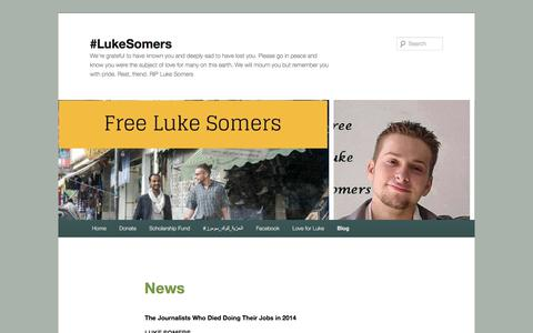 Screenshot of Press Page wordpress.com - News | #LukeSomers - captured Feb. 18, 2018
