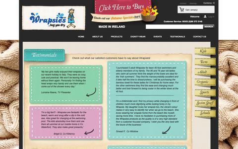 Screenshot of Testimonials Page wrapsies.ie - TESTIMONIALS - Wrapsies - captured Oct. 7, 2014