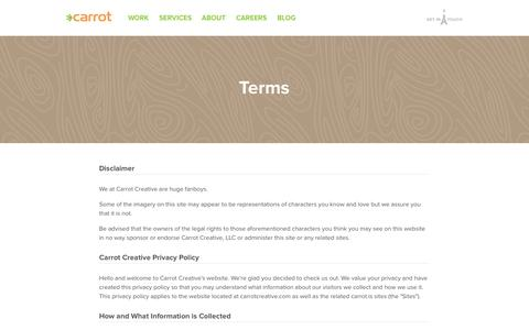 Screenshot of Privacy Page Terms Page carrot.is - Carrot Creative - captured Oct. 22, 2014