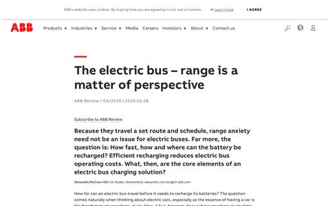 Screenshot of Press Page abb.com - The electric bus – range is a matter of perspective - captured Nov. 9, 2019
