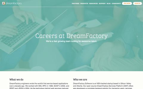 Screenshot of Jobs Page dreamfactory.com - Dream Careers | DreamFactory - captured July 3, 2015