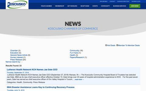 Screenshot of Press Page kchamber.com - News - captured Oct. 19, 2018