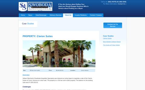 Screenshot of Case Studies Page shshotels.com - Swoboda Hospitality Specialists > About Us > Case Studies - captured Nov. 4, 2014