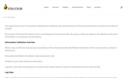 Screenshot of Privacy Page stratnor.com - Privacy Policy – Stratnor - captured Oct. 19, 2018