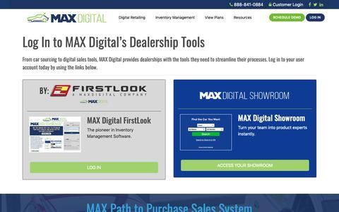 Screenshot of Login Page maxdigital.com - MAX Digital Login   FirstLook   MAX Digital Showroom - captured June 18, 2019