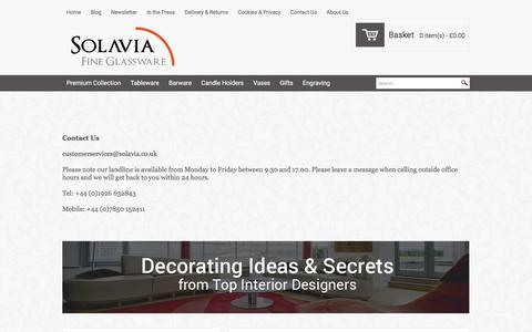 Screenshot of Contact Page solavia.co.uk - Solavia Fine Glassware Contact Us - captured June 21, 2017