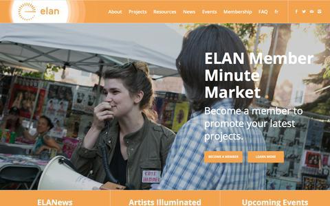 Screenshot of Home Page quebec-elan.org - Home - ELAN - captured July 1, 2018