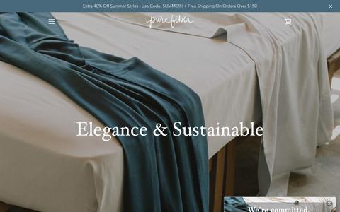 Screenshot of Home Page pure-fiber.com - PURE FIBER | Organic & Eco-Friendly Home Textiles – Pure Fiber - captured July 24, 2018