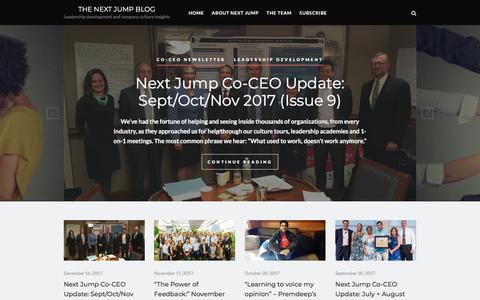 Screenshot of Blog nextjump.com - The Next Jump Blog – Leadership development and company culture insights - captured Jan. 11, 2018