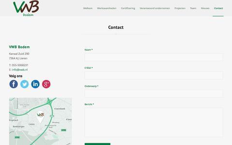 Screenshot of Contact Page vwb.nl - Het Veldwerkbureau     Contact - captured Jan. 29, 2016