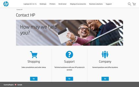 Screenshot of Contact Page hp.com - Contact HP | HP® Canada - captured Oct. 18, 2018