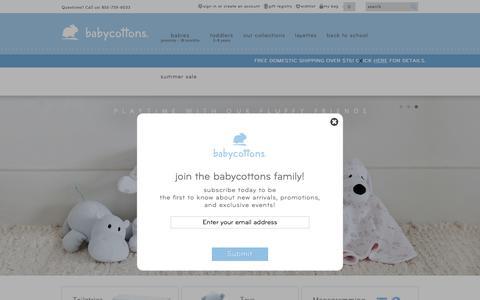 Screenshot of Home Page babycottons.com - babycottons. - Premium Pima Cotton Sleepwear for Children - captured Aug. 4, 2018