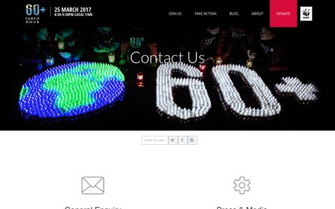 Screenshot of Contact Page earthhour.org - Contact Us | EARTH HOUR - captured Sept. 7, 2016