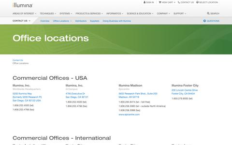 Screenshot of Locations Page illumina.com - Office Locations | Contact information - captured Oct. 9, 2018