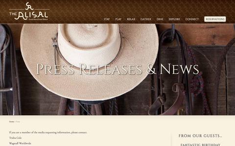 Screenshot of Press Page alisal.com - Media and Press Inquiries - Alisal Guest Ranch & Resort - captured June 24, 2017